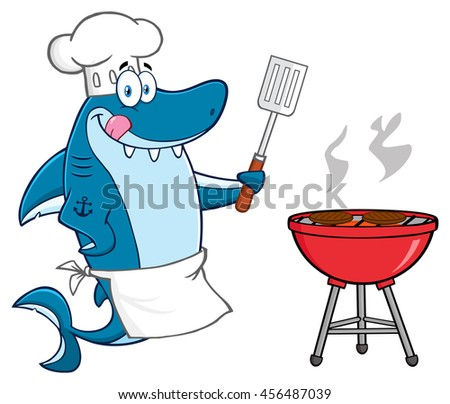 Chef Blue Shark Cartoon Mascot Character Licking His Lips And Holding A Spatula By A Barbeque With Roasted Burgers. Vector Illustration Isolated On White Background