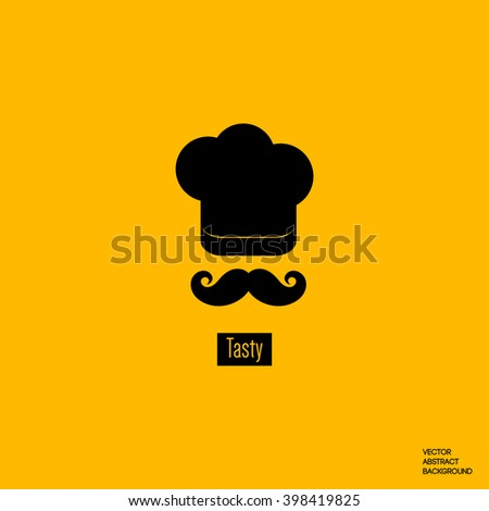 Chef cap icon.  Mustache, beard - stock vector