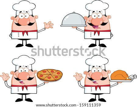 Chef Cartoon Characters 1. Vector Collection Set  - stock vector