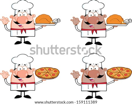 Chef Cartoon Characters 5. Vector Collection Set