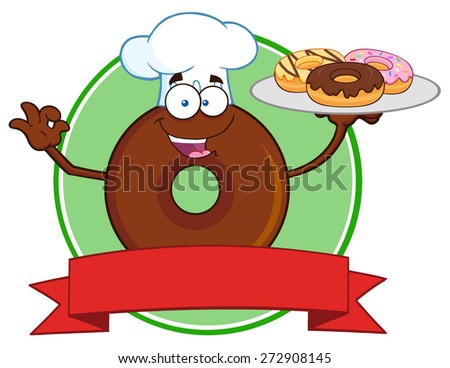 Chef Chocolate Donut Cartoon Character Serving Donuts Circle Label. Vector Illustration Isolated On White - stock vector