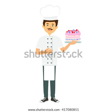 Chef confectioner in uniform with cream cake. Chef confectioner in vector, chef confectioner isolated. - stock vector