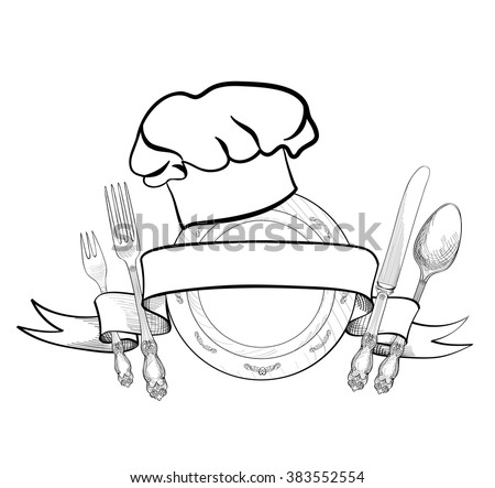 Chef cook hat fork spoon knife stock vector 383552554 - Toc de cuisinier ...