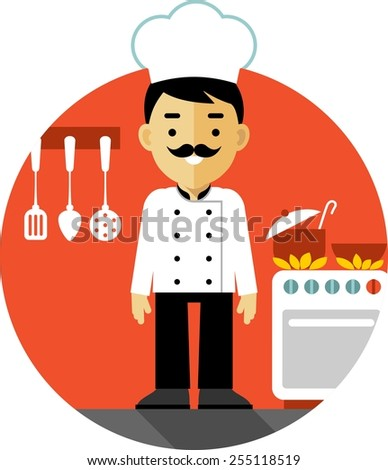 Chef cook man in uniform on kitchen background in flat style - stock vector