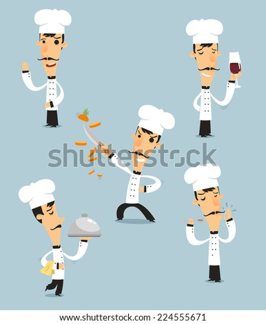 Chef Cook Set  with pan, bowl, stir, fire pan vector illustration. Also, with chef hat, chef uniform, mustache vector cartoon illustration - stock vector