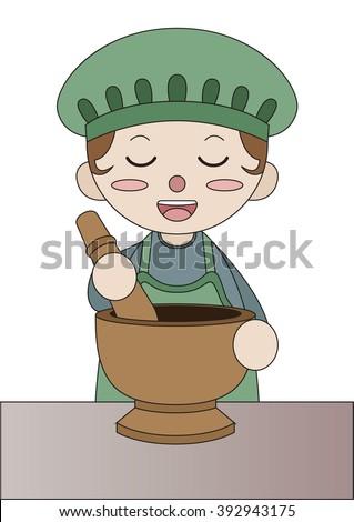 chef cooking papaya salad - stock vector