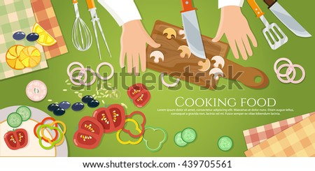 Chef cooks preparing food top view cook hands chef on the kitchen table  vector illustration - stock vector