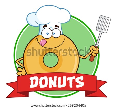Chef Donut Cartoon Character Circle Label With Text. Vector Illustration Isolated On White - stock vector