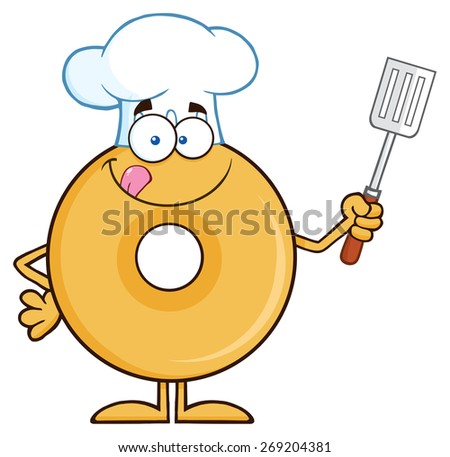 Chef Donut Cartoon Character Holding A Slotted Spatula. Vector Illustration Isolated On White - stock vector