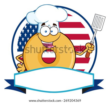 Chef Donut Cartoon Character Over A Circle Blank Banner In Front Of Flag Of USA. Vector Illustration Isolated On White - stock vector