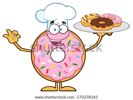 Chef Donut Cartoon Character Serving Donuts. Vector Illustration Isolated On White - stock vector