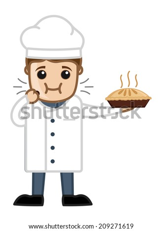 Chef Eating Pan Cake - stock vector