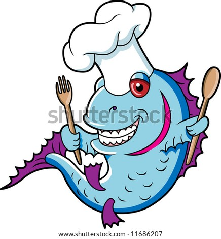 Chef Fish - stock vector