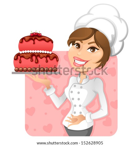 chef girl with a delicious cake - stock vector