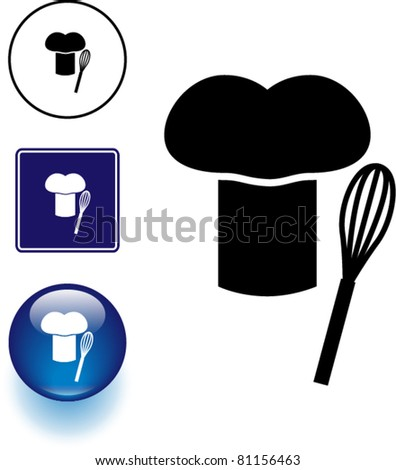 chef hat and whisk symbol sign and button - stock vector