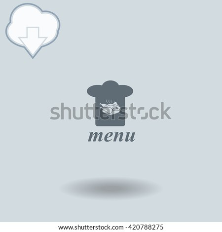 Chef hat icon with shadow. Cloud of download with arrow. - stock vector