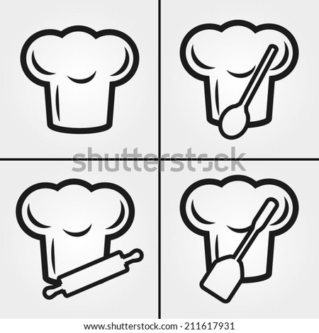 Chef Hat Icons - stock vector