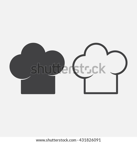chef hat line icon, outline and solid vector sign, linear pictogram isolated on white, logo illustration
