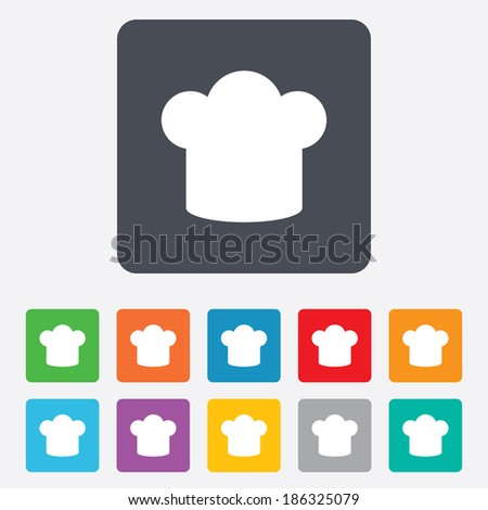 Chef hat sign icon. Cooking symbol. Cooks hat. Rounded squares 11 buttons. Vector
