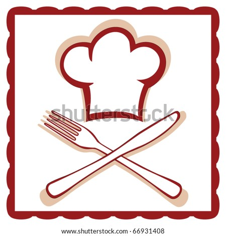Chef hat with knife and fork sign vector - stock vector