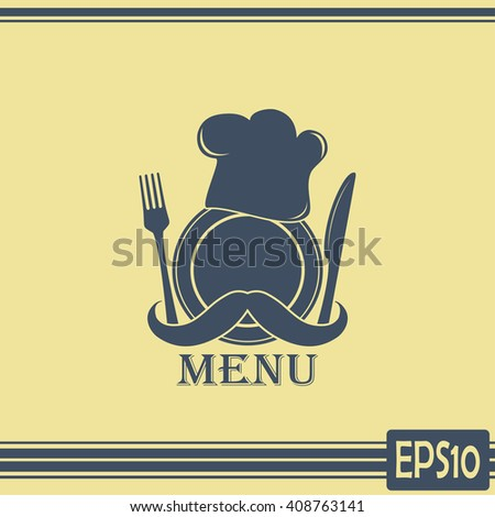Chef hat with mustache. Foods Service icon. Menu card - stock vector