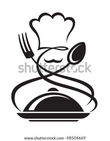 chef hat with spoon and fork - stock vector