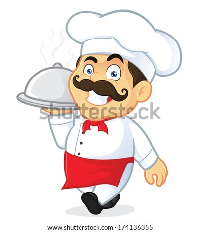 Chef Holding Silver Cloche - stock vector
