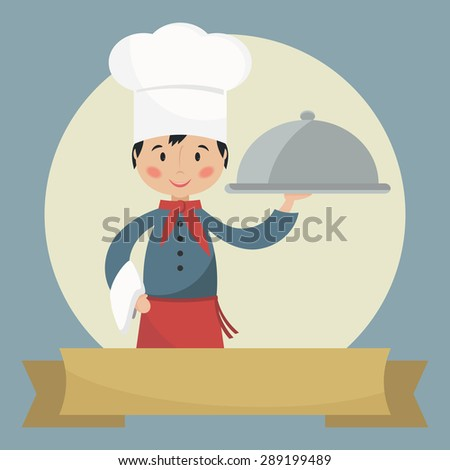 Chef holding silver cloche. Banner with space for text. Simple flat vector.