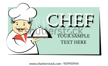 chef holds a tray with a dome - stock vector