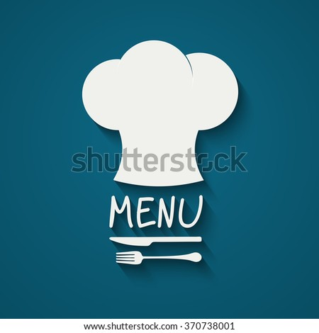Chef icon. Chef hat silhouette with cutlery inside on black background. Vector illustration for your design - stock vector