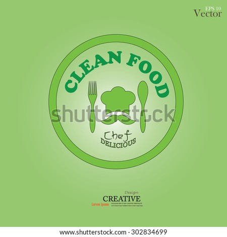 chef icon.Chef icon with spoon , fork and clean food word .Chef symbol.vector illustration. - stock vector