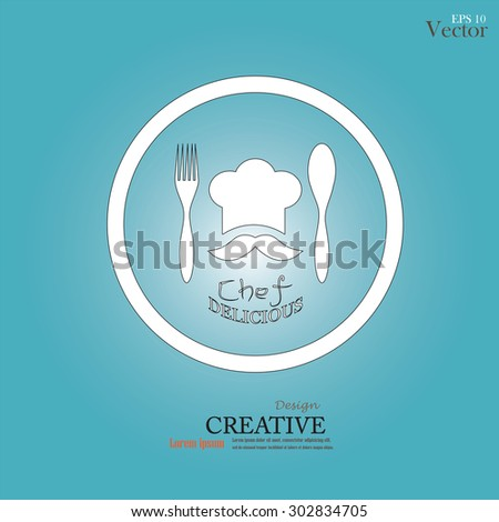 chef icon.Chef icon with spoon , fork and delicious word .Chef symbol.vector illustration. - stock vector