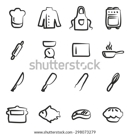 Chef Icons Freehand  - stock vector