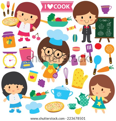chef kids and kitchen elements clip art set - stock vector