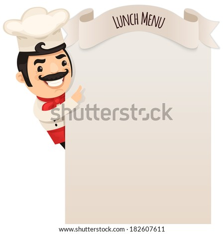Chef Looking at Blank Menu. In the EPS file, each element is grouped separately. Isolated on white background. - stock vector