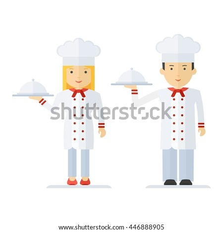 Chef man and woman in a chef hat. Keep holding a tray of food. For menu card, brochure, presentation for restaurant and cafe. Objects isolated on white background. Flat cartoon vector illustration. - stock vector