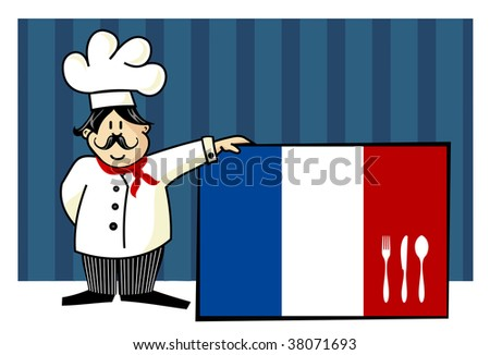Chef of french cuisine. Food, restaurant, menu design with cutlery silhouette on the country flag. Striped blue background. Vector available