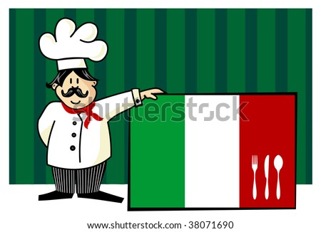 Chef of italian cuisine. Food, restaurant, menu design with cutlery silhouette on the country flag. Striped blue background. Vector available