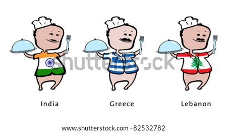 Chef of restaurant from India, Greece, Lebanon - vector illustration - An indian chef, a greek chef, a lebanese chef - stock vector