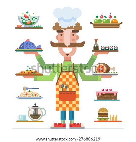 Chef offers a range of beautiful served dishes. Meal in a restaurant. Career in catering. Catering business. Vector flat illustration - stock vector