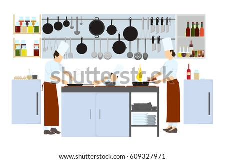 Restaurant Kitchen Illustration chef on kitchen on white background stock vector 609327971