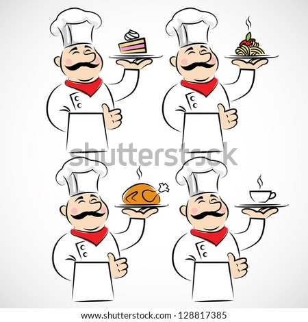 Chef or cook vector set - stock vector