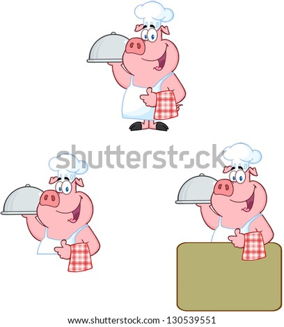 Chef Pig. Vector Collection - stock vector