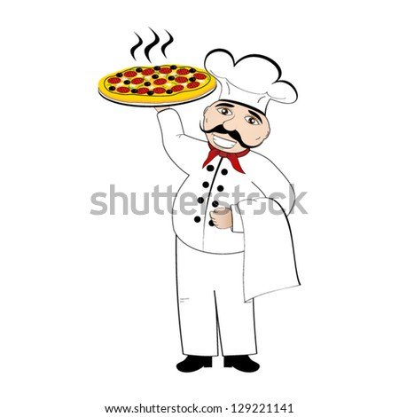 Chef pizza vector