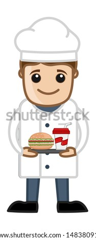 Chef Prepared Food - Cartoon Business Vector Character - stock vector