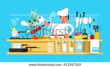 Chef prepares in kitchen - stock vector