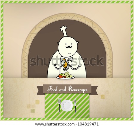 Chef Preparing Food | Food and Beverages Series | Layered Eps10 Vector Graphic - stock vector