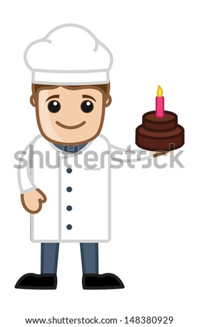 Chef Presenting Birthday Cake - Cartoon Business Vector Character - stock vector