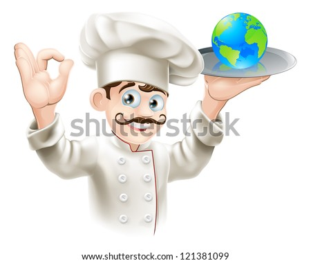 Chef presenting world globe on a plate. Could be business concept for having the world on plate or success and opportunity or alternatively for world food or cuisine - stock vector