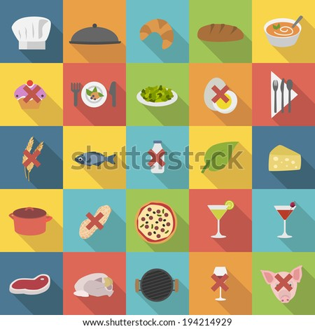Chef's flat food icons for menus, restaurants and cooking - stock vector